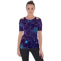 Realistic Night Sky Poster With Constellations Shoulder Cut Out Short Sleeve Top