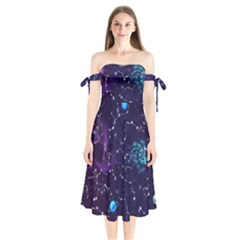 Realistic Night Sky Poster With Constellations Shoulder Tie Bardot Midi Dress