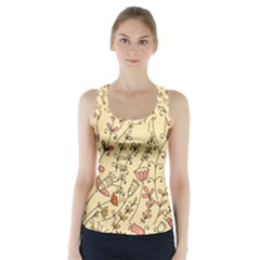 Seamless Pattern With Different Flowers Racer Back Sports Top