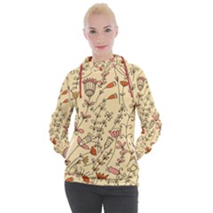 Seamless Pattern With Different Flowers Women s Hooded Pullover