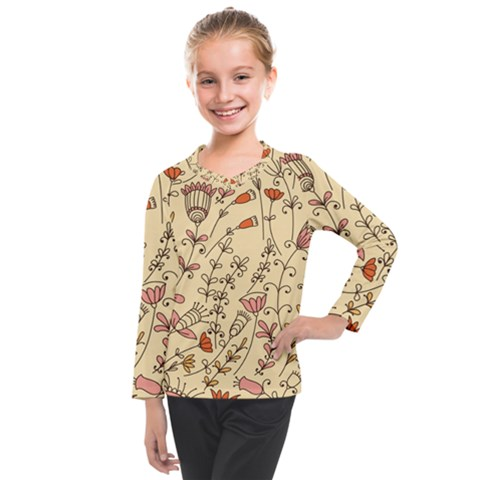 Seamless Pattern With Different Flowers Kids  Long Mesh Tee by BangZart