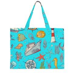 Colored Sketched Sea Elements Pattern Background Sea Life Animals Illustration Zipper Large Tote Bag