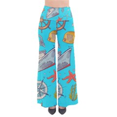 Colored Sketched Sea Elements Pattern Background Sea Life Animals Illustration So Vintage Palazzo Pants by BangZart