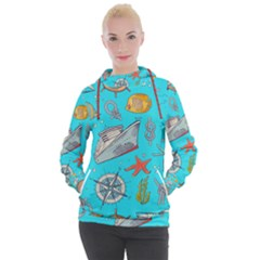 Colored Sketched Sea Elements Pattern Background Sea Life Animals Illustration Women s Hooded Pullover