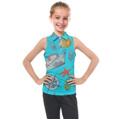 Colored Sketched Sea Elements Pattern Background Sea Life Animals Illustration Kids  Sleeveless Polo Tee