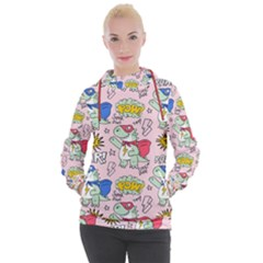 Seamless Pattern With Many Funny Cute Superhero Dinosaurs T Rex Mask Cloak With Comics Style Women s Hooded Pullover