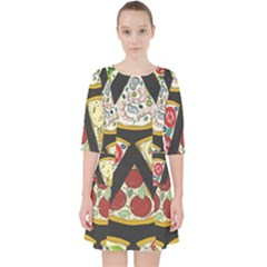 Vector Seamless Pattern With Italian Pizza Top View Pocket Dress by BangZart