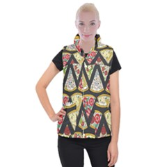 Vector Seamless Pattern With Italian Pizza Top View Women s Button Up Vest