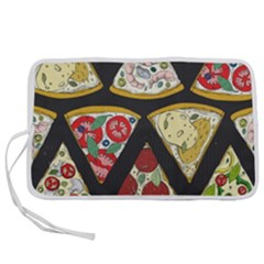 Vector Seamless Pattern With Italian Pizza Top View Pen Storage Case (s)