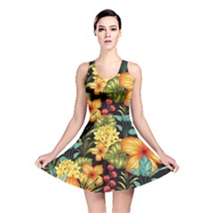 Fabulous Colorful Floral Seamless Reversible Skater Dress