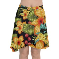 Fabulous Colorful Floral Seamless Chiffon Wrap Front Skirt