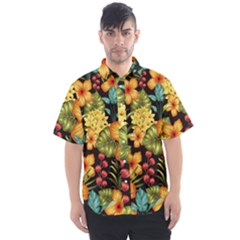 Fabulous Colorful Floral Seamless Men s Short Sleeve Shirt