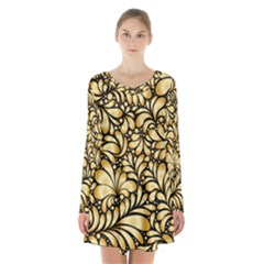 Damask Teardrop Gold Ornament Seamless Pattern Long Sleeve Velvet V-neck Dress