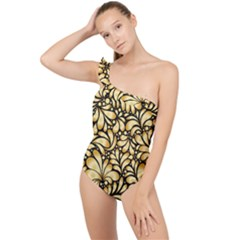 Damask Teardrop Gold Ornament Seamless Pattern Frilly One Shoulder Swimsuit
