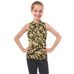 Damask Teardrop Gold Ornament Seamless Pattern Kids  Sleeveless Polo Tee