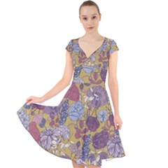 Floral Seamless Pattern With Flowers Vintage Background Colorful Illustration Cap Sleeve Front Wrap Midi Dress