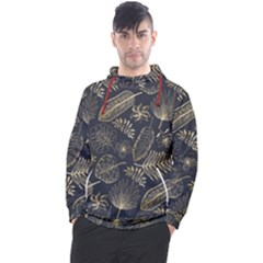 Elegant Pattern With Golden Tropical Leaves Men s Pullover Hoodie