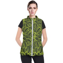 Green Abstract Stippled Repetitive Fashion Seamless Pattern Women s Puffer Vest