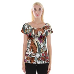 Natural Seamless Pattern With Tiger Blooming Orchid Cap Sleeve Top by BangZart