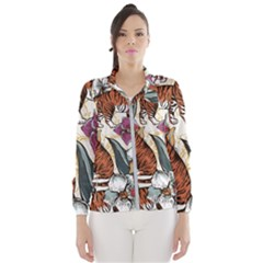 Natural Seamless Pattern With Tiger Blooming Orchid Women s Windbreaker by BangZart