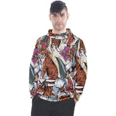 Natural Seamless Pattern With Tiger Blooming Orchid Men s Pullover Hoodie