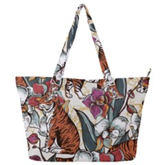 Natural Seamless Pattern With Tiger Blooming Orchid Full Print Shoulder Bag by BangZart