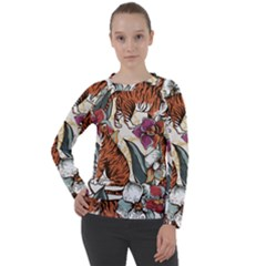 Natural Seamless Pattern With Tiger Blooming Orchid Women s Long Sleeve Raglan Tee