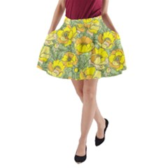 Seamless Pattern With Graphic Spring Flowers A-line Pocket Skirt