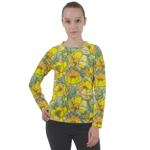 Seamless Pattern With Graphic Spring Flowers Women s Long Sleeve Raglan Tee by BangZart