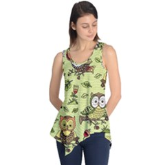 Seamless Pattern With Flowers Owls Sleeveless Tunic