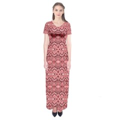 Pink Art With Abstract Seamless Flaming Pattern Short Sleeve Maxi Dress by BangZart