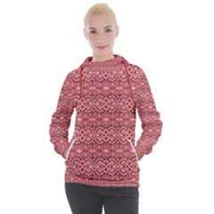 Pink Art With Abstract Seamless Flaming Pattern Women s Hooded Pullover