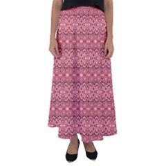 Pink Art With Abstract Seamless Flaming Pattern Flared Maxi Skirt
