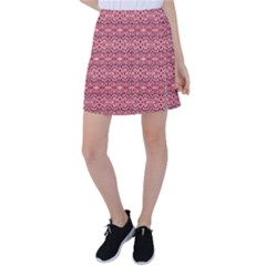 Pink Art With Abstract Seamless Flaming Pattern Tennis Skirt by BangZart