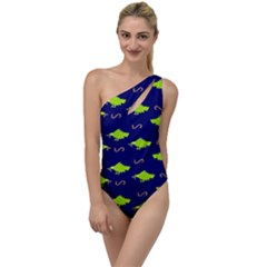 Green Birds With Worm To One Side Swimsuit by Lotus