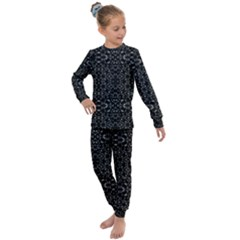Black And White Tech Pattern Kids  Long Sleeve Set  by dflcprintsclothing