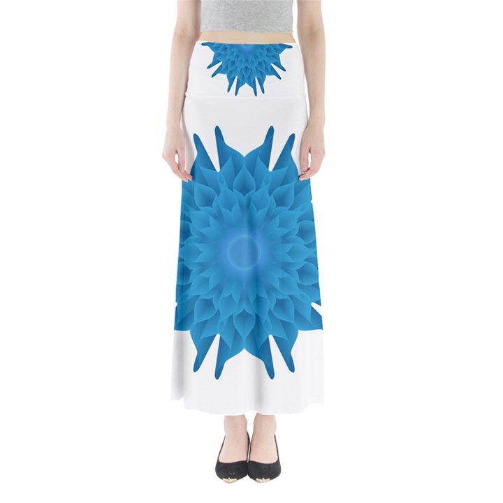 Blue Blend Flower Full Length Maxi Skirt