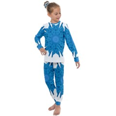 Blue Blend Flower Kids  Long Sleeve Set