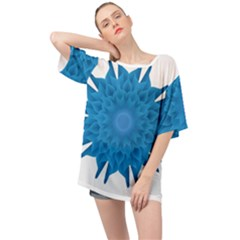 Blue Blend Flower Oversized Chiffon Top