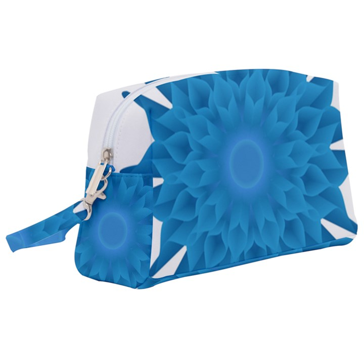Blue Blend Flower Wristlet Pouch Bag (Large)