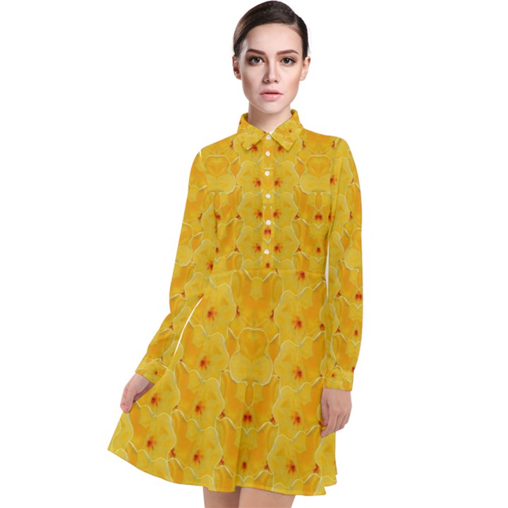 Blossoms  So Free In Freedom Long Sleeve Chiffon Shirt Dress