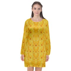 Blossoms  So Free In Freedom Long Sleeve Chiffon Shift Dress