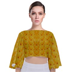 Blossoms  So Free In Freedom Tie Back Butterfly Sleeve Chiffon Top