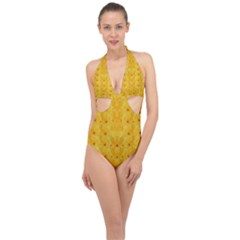 Blossoms  So Free In Freedom Halter Front Plunge Swimsuit