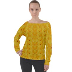 Blossoms  So Free In Freedom Off Shoulder Long Sleeve Velour Top