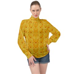 Blossoms  So Free In Freedom High Neck Long Sleeve Chiffon Top