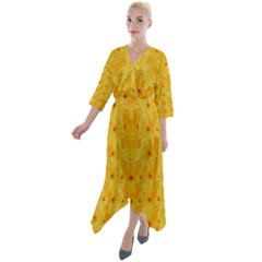 Blossoms  So Free In Freedom Quarter Sleeve Wrap Front Maxi Dress