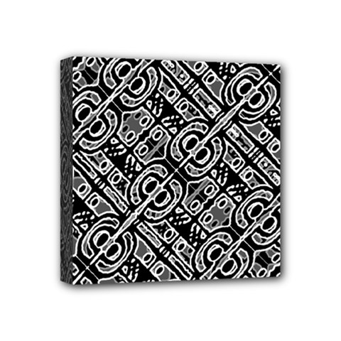 Linear Black And White Ethnic Print Mini Canvas 4  X 4  (stretched) by dflcprintsclothing
