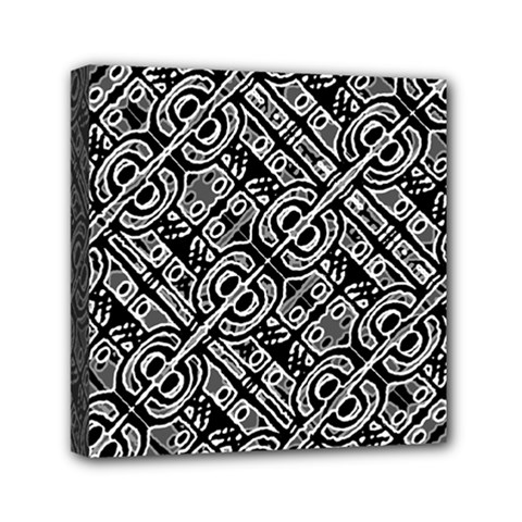 Linear Black And White Ethnic Print Mini Canvas 6  X 6  (stretched)