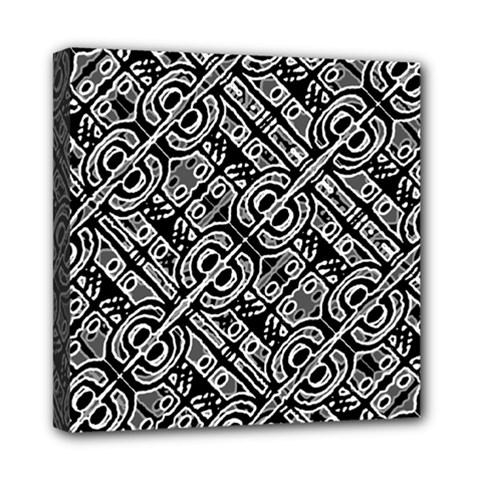 Linear Black And White Ethnic Print Mini Canvas 8  X 8  (stretched)